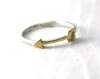 Boho Arrow Ring, Hipster Ring, Arrow Ring, Sterling Silver, Gold Arrow Ring, Custom Initial, Personalized, Stack Ring, Silver Band, Initial