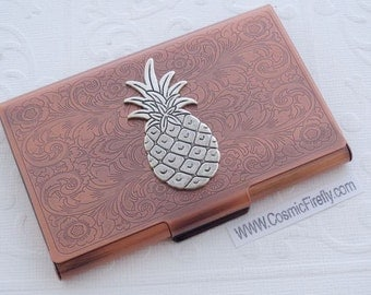 Tiki Card Case Copper Business Card Case Silver Pineapple Card Case Card Holder Gothic Victorian Style Card Case New Handcrafted Card Case