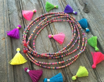 4mm Neon Multi Color African Vinyl Record Beads, Multi-Colored Vinyl Discs, Tribal Bohemian Jewelry, African Beads, Festival Jewelry