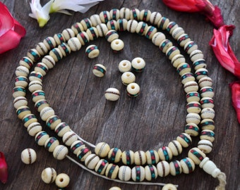 White: 10mm Yak Bone Beads from Nepal, inlaid with Turquoise, Coral and Wire, 10 beads, Malas, Yoga, Boho, Tribal / Supplies