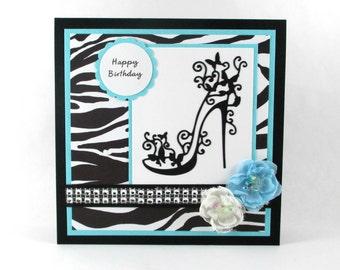 Happy Birthday card, high heels, zebra print, animal print, 21st birthday, 30th birthday, 40th birthday, 50th birthday