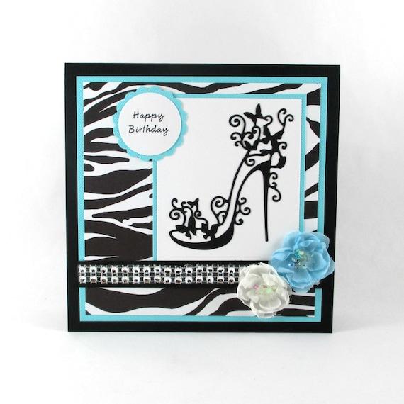 Happy Birthday Card High Heels Zebra Print Animal Print
