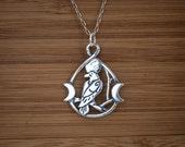 Raven Triple Moon - Raven Pendant - STERLING SILVER - (Pendant, Necklace or Earrings)
