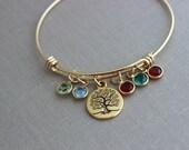 Gold Family Tree bracelet, gold plated stainless steel bangle bracelet with Swarovski crystal birthstones, Choose qty of birthstones Grandma