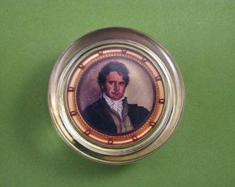 Darcy Paperweight, Darcy Portrait, Jane Austen, Pride and Prejudice, Round Paperweight, Glass Paperweight, Colin Firth Portrait
