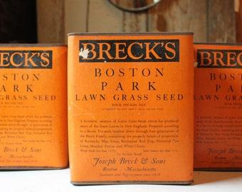 Vintage tin - Breck's Boston Park- Lawn Grass Seed - Vintage Advertising