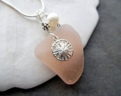 Pink Sea Glass Necklace Sand Dollar Jewelry Sterling  Beach Glass Pendant