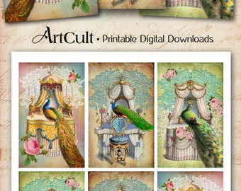 Printable download CHAMBRE ROYALE TAGS with peacocks Digital Collage Sheet Art Cult paper craft scrapbooking journaling jewelry holders