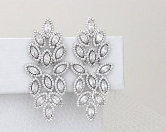 Crystal Bridal Earrings, Chandelier Wedding earrings, Statement earrings, Wedding jewelry, Leaf earrings, CZ earrings, Rhinestone, SCARLETT