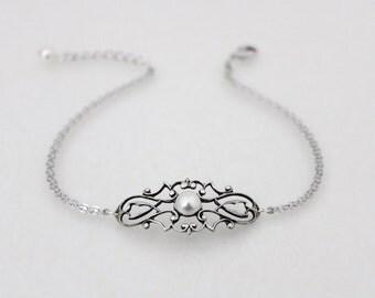 Bridal bracelet, Antique silver bangle bracelet, Wedding jewelry, Bridesmaid bracelet, Art Deco bangle bracelet, Simple bracelet, Vintage