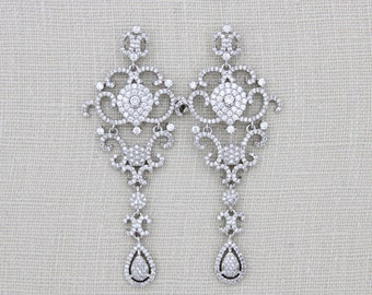 Bridal Chandelier earrings, Crystal Wedding earrings, Swarovski Bridal jewelry, Statement earrings, CZ Earrings, Long earrings, Art Deco