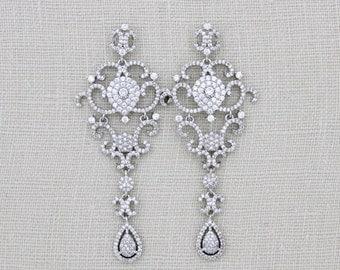 Bridal Chandelier earrings, Crystal Wedding earrings, Swarovski Bridal jewelry, Statement earrings, CZ Earrings, Long earrings, Art Deco