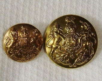 2 Vintage English Uniform Buttons - back marked