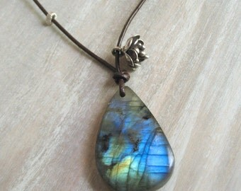Labradorite Necklace, Sterling Silver, Kyanite, Leather  - Pasadena Necklace