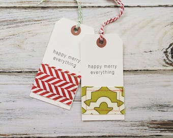 Happy Merry Everything Christmas fabric sewn gift tags, set of 10