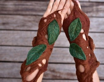 Felt Melted Pixie Woodland Fairy Matching Arm Cuffs With Leaves OOAK