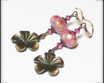 Sugar Magnolia... Handmade Jewelry Earrings Beaded Lampwork Glass Crystal Flower Pink Orchid Rose Plum Antique Brass Daisy Hippie Boho