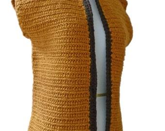 Women's Vest Gold, Organic Cotton, Crochet Vest