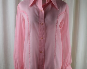 Vintage Shirt, 1970s Blouse, Pink Shirt, Blush Shirt, Preppy Shirt, Sheer Shirt, Spring Blouse, Summer Blouse, 70s Blouse, Preppy Top,