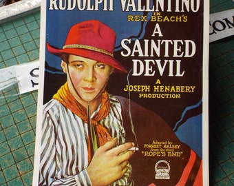 Rudolph Valentino, A Sainted Devil, 1924 movie,  vintage 1971 postcard, hollywood history, scrapbook