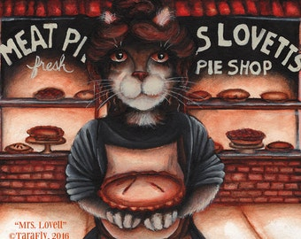 Mrs Lovett, Sweeney Todd, Pie Shop Bakery 8x10 Cat Art Print