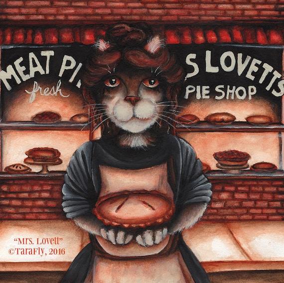 Mrs Lovett, Sweeney Todd, Pie Shop Bakery 8x10 Cat Art Print