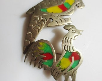 TAXCO Sterling Brooches Parrot Rooster Inlay Pins Green Yellow Red Silver Vintage Mexico Jewelry