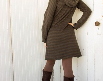 Hemp Hooded Tunic Dress - Hemp and Organic Cotton Knit - Made to Order - Choose Your Color