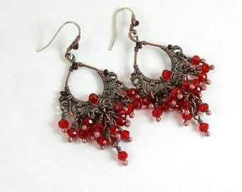 Red Chandelier  Earrings, Wire Wrapped, Boho, Canada, Handmade, Oxidized Copper, STERLING SILVER EARWIRES