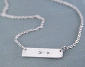 Arrow Bar Necklace, Bar Necklace, Arrow, Simple Bar Necklace, Bar, Silver Bar Necklace, Arrow Jewelry, Minimalist, Silver Arrow Necklace