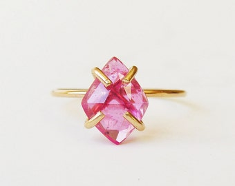 SALE Pink Sapphire Diamond Ring - Gold Filled - OOAK