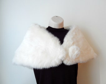 vintage fur stole, shrug, capelet, white rabbit fur, lined, 1960s, ladies clothing, ladies outerwear, wedding, prom, party
