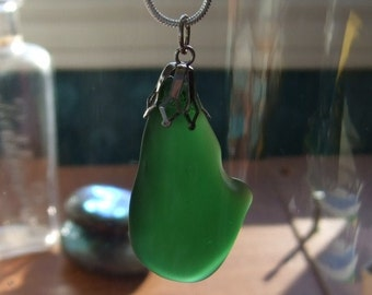 Green Beach Sea Glass Necklace Sterling Silver 18 Inch Long Chain Mermaids Tears