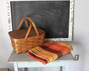 vintage AUTUMN PICNIC basket and blanket GLAMPING set