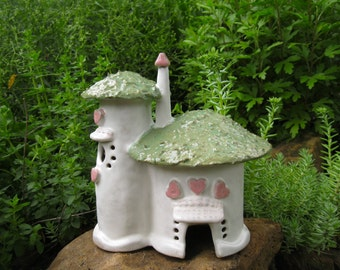 Hearts and Roses Fairy Cottage handbuilt ceramics clay house fairy house fairy garden outdoor onrmnent garden art woman's gift
