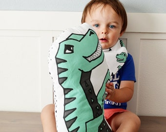 Dinosaur T-Rex plush baby nursery pillow rattle toy mint green