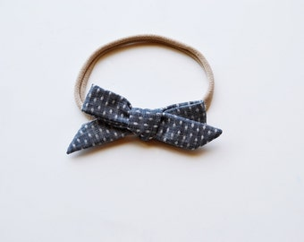Denim Chambray and Polka Dot Hand-tied Simple Fabric Bow Nylon Elastic or Alligator Clip