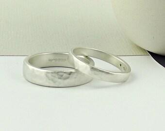 Sterling Silver Wedding Ring - Forged - Matte -wedding band-wedding ring-simple wedding ring-silver wedding ring-silversynergy-minimalist-uk