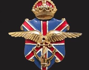 SILSON British American Ambulance Corps WWII Patriotic Pin 1940s WW2 Sweetheart Jewelry, Patriotic Jewelry
