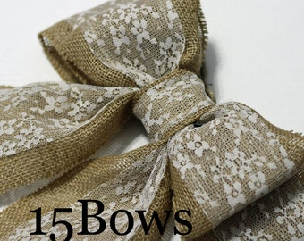 Burlap Pew Bows (15) Natural Burlap and Lace Large Double Bows Rustic Country Chic Wedding Decor Handmade Chair Bow