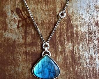 Silver Necklace with Labradorite Teardrop Pendant
