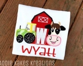 Personalized Farm Second Birthday Shirt with Cow, Tractor and Barn / TWO