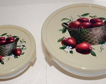 Apple Storage Bowls, Food Storage, Covered Glass Bowls, Set of Two, Apple Decoration, Basket of Apples, Red Apple, Leftover Bowl Fruit Motif