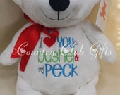 Valentine Bear, baby gift, I love you a bushel and a peck, best baby gift ever, plush, White Bear,subway art,Embroider buddy