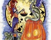 HALLOWEEN fairy dragon 8.5x11 PRINT by Amy Brown