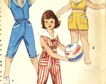 Vintage 50s Simplicity 1188 UNCUT Toddlers Romper, Crop Top, 2 Pc Playsuit and Cropped Pants or Shorts  Sewing Pattern Size 6