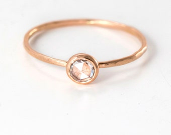 Rose Cut White Diamond Ring in 14k Rose Gold // A Delicate Diamond Stacking Ring with a 4mm White Diamond, Rose Cut Diamond Engagement Ring