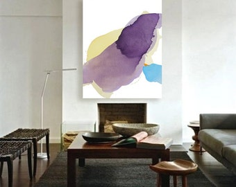 """Contemporary Original Minimal Abstract Art, blue, yellow, purple 43 x 55"""" """"Deep Water - Floating Leaf"""" mid century inspired, modern painting"""