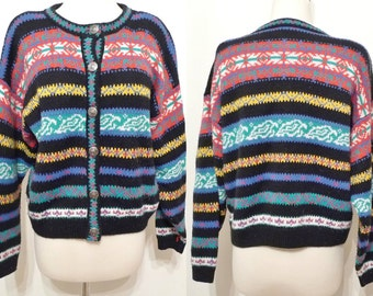 SALE Black & Brights Snowflake Cardigan Sweater VTG 80s Fair Isle Neo Nordic Theme Button Down Cropped Sweater Warm Wool-Blend Top SKi sale