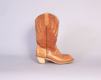 Vintage 80s FRYE BOOTS / 1980s Caramel Brown Leather Cut-Out Stack Heel Western Boots 6